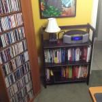 3 Monkey Lamp on Bookshelf